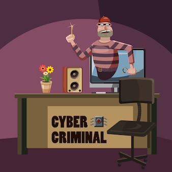 Cyber aanval criminele spion concept, cartoon stijl