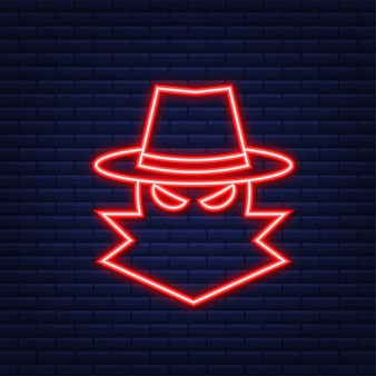 Cyber aanval. data phishing met vishaak, laptop, internetbeveiliging. neon-stijl. vector illustratie.
