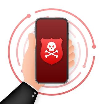 Cyber aanval. data phishing met vishaak, laptop, internetbeveiliging. vector voorraad illustratie.