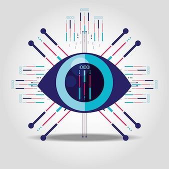 Cyber beveiligingspictogram oog geïsoleerd