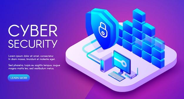 Cyber-beveiligingstechnologie illustratie van beveiligde privénetwerk- en internetfirewall