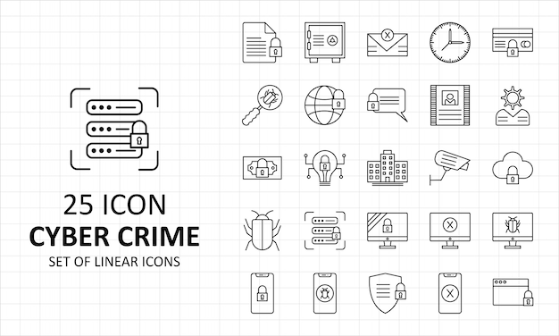 Cyber crime icons sheet pixel perfect