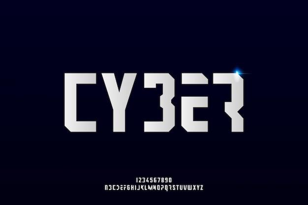 Cyber, een abstract futuristisch alfabetlettertype met technologiethema. modern minimalistisch typografieontwerp