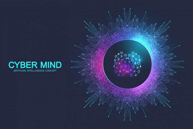 Cyber geest en kunstmatige intelligentie concept. neurale netwerken en een ander concept van moderne technologieën. hersenenanalyse. futuristische cyberhumanoïde hersenen. big data-stream. Premium Vector