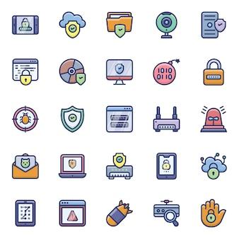 Cyber hacken iconen pack