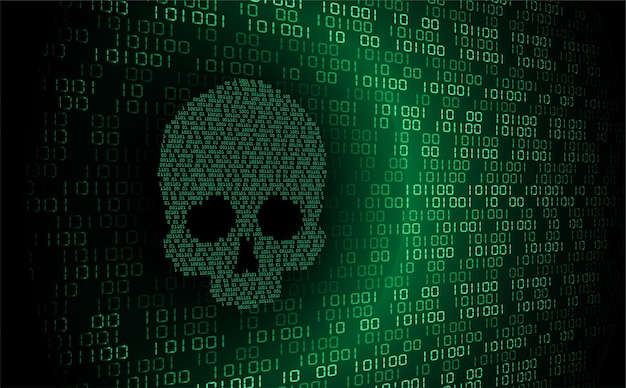 Cyber hacker aanval achtergrond schedel vector