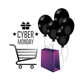 Cyber maandag aanbieding verkoop met boodschappentas decoratie