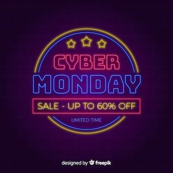 Cyber maandag achtergrond in neon stijl