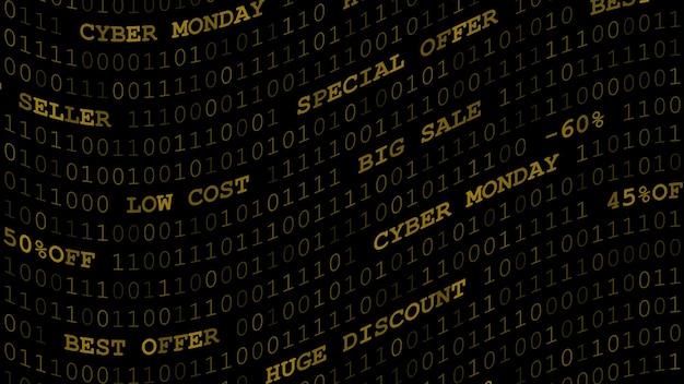 Cyber maandag achtergrond van nullen, enen en inscripties in donkergele kleuren