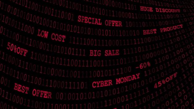 Cyber maandag achtergrond van nullen, enen en inscripties in donkerrode kleuren