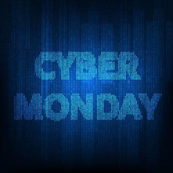 Cyber maandag banner met blauwe matrix.