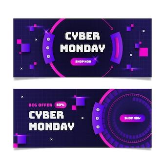 Cyber maandag banners in plat ontwerp