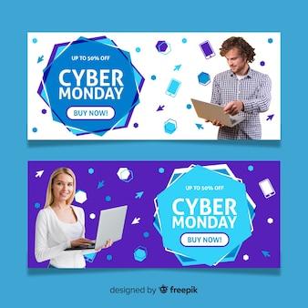 Cyber maandag banners met foto in plat ontwerp