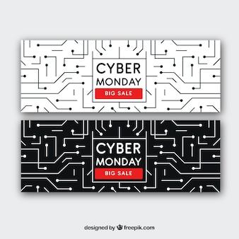 Cyber maandag banners van circuits