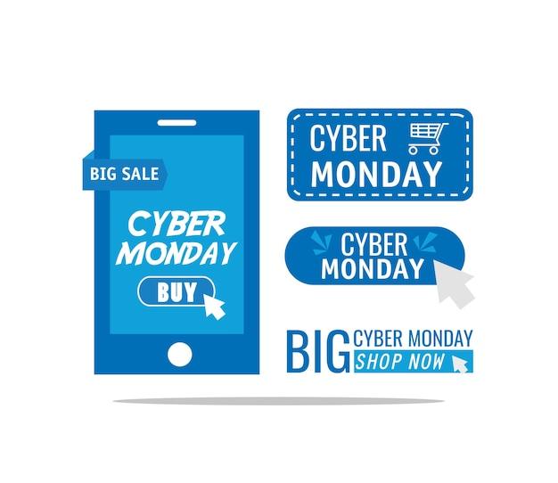 Cyber maandag belettering in ontwerp van de smartphone het vectorillustratie
