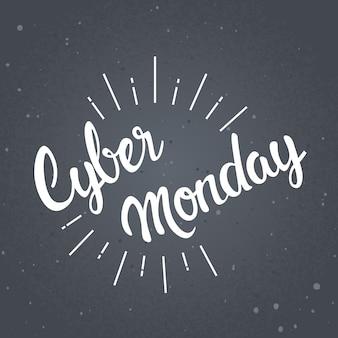 Cyber maandag belettering ontwerp online winkelen verkoop banner