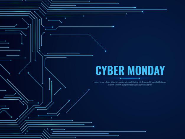 Cyber maandag. circuit board technologie sporen. overdracht van gegevens, digitale elektronica techno design. aanbieding verkoop achtergrond met blauwe elektriciteit lichte promotie marketing futuristische banner vector concept