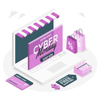 Cyber maandag concept illustratie Gratis Vector