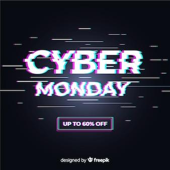 Cyber maandag concept met glitch effect