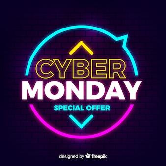 Cyber maandag concept met neon achtergrond