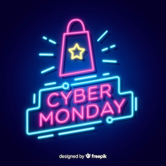 Cyber maandag concept met neon ontwerp