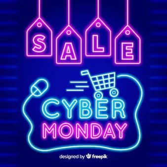 Cyber maandag concept met neon stijl