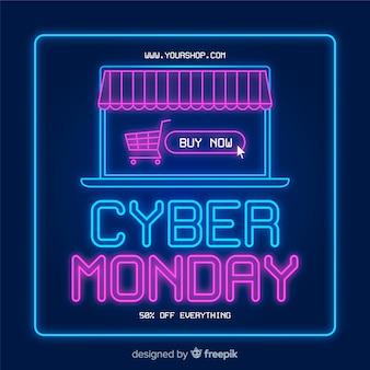 Cyber maandag concept met platte ontwerp achtergrond