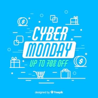 Cyber maandag concept met platte ontwerp