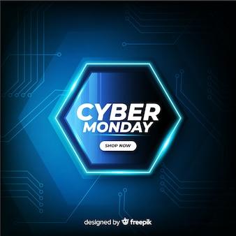 Cyber maandag concept met realistische achtergrond