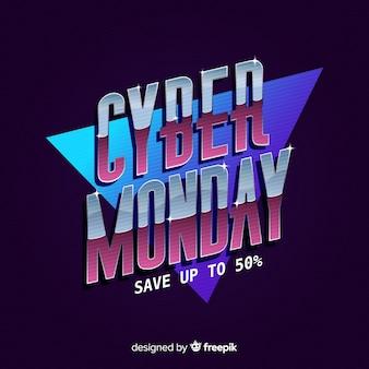 Cyber maandag concept met retro futuristische achtergrond