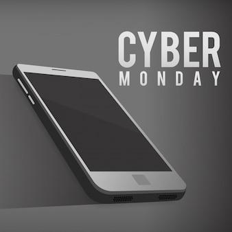 Cyber maandag dag. een sjabloon met een smartphone.