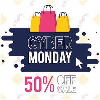 Cyber maandag dag poster met boodschappentassen