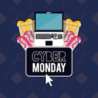 Cyber maandag dag poster met laptop