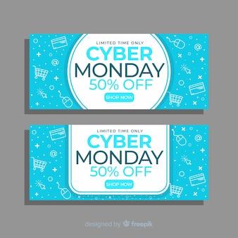 Cyber maandag flyer banners in plat ontwerp