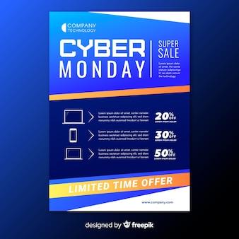 Cyber maandag flyer met verkoopaanbiedingen