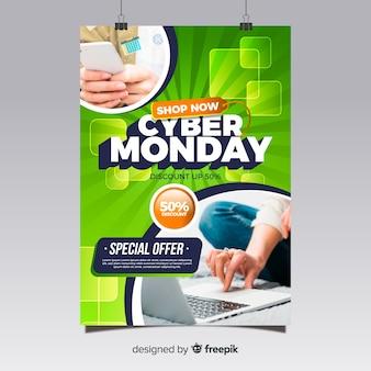 Cyber maandag folder sjabloon met platte ontwerp