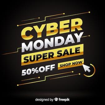 Cyber maandag gouden tekst achtergrond