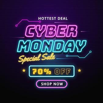 Cyber maandag heetste deal neonlichten