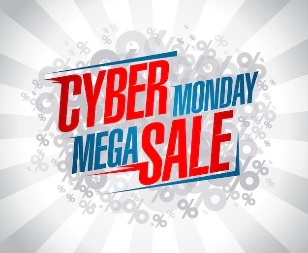 Cyber maandag mega verkoop vector banner ontwerp