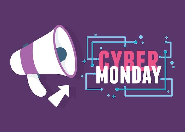 Cyber maandag, megafoon reclame klik op pijl vectorillustratie