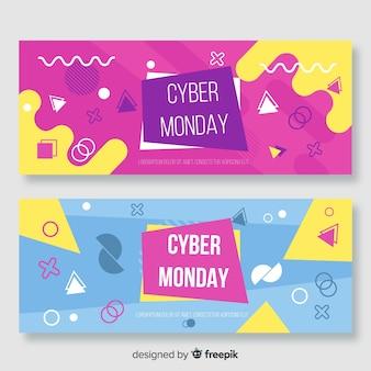 Cyber maandag memphis stijlsjabloon voor spandoek