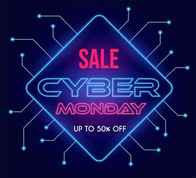 Cyber maandag modern tech vector posterontwerp met seizoensgebonden tekst