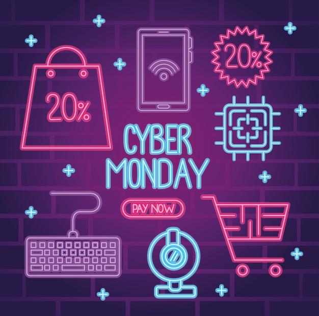 Cyber maandag neon belettering met bundel pictogrammen illustratie ontwerp