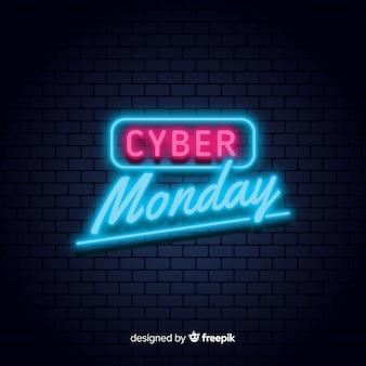 Cyber maandag neon verkoop achtergrond