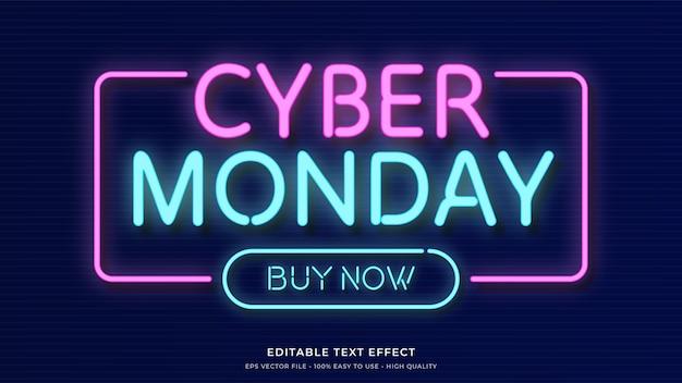 Cyber maandag neonlicht typografie premium bewerkbaar teksteffect