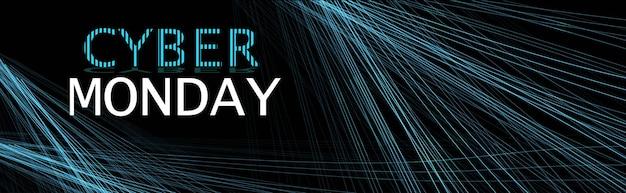 Cyber maandag online verkoop poster reclame flyer vakantie winkelen promotie banner korting concept horizontale vectorillustratie