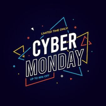Cyber maandag platte ontwerp achtergrond