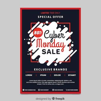 Cyber maandag platte ontwerpsjabloon folder