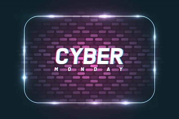 Cyber maandag poster banner met muur achtergrond.