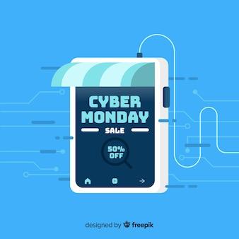 Cyber maandag samenstelling met platte ontwerp
